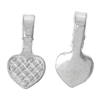 200 Glue on Heart Bails Pendant Hanger Silver Plated 16x8mm