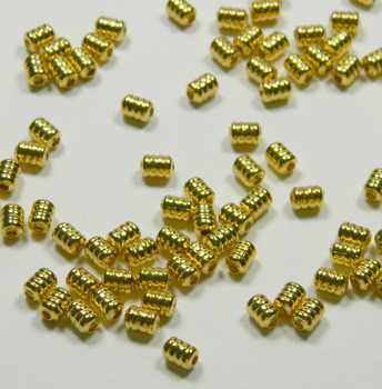 100 Beads Gold-Plated Brass 5x4mm Ribbed Barrel Spacer Metal 2952Mb