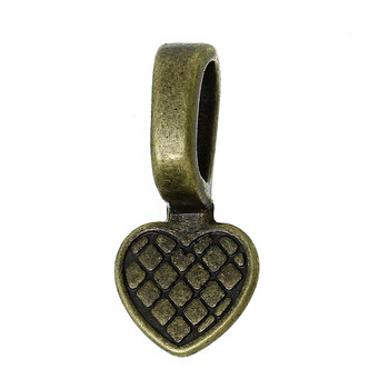 200 Glue On Bails Pendant Hanger Heart Antique Brass Plated 16x8mm Rb28997