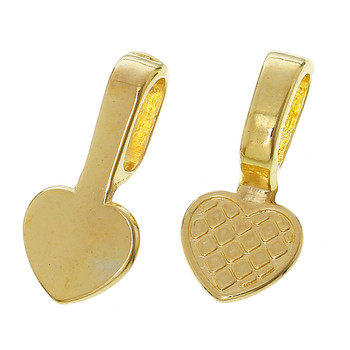 50 Glue On Bails Pendant Hanger Heart Gold Plated 22x10mm Rb61813