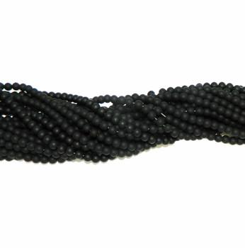 "6mm Black Agate Manmade Glass Beads Round Beads 15"" Loose Strand B2-6C67M"