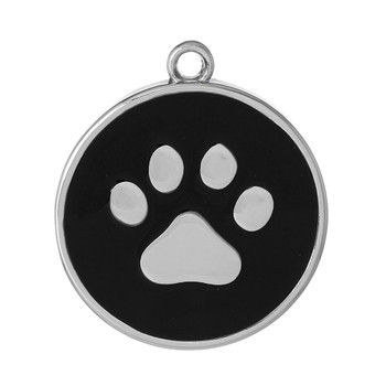 1 Black Paw Pendants 30mm Round With 2.5mm Hole Rb60625