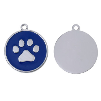 1 Blue Paw Pendants 30mm Round With 2.5mm Hole Rb60624