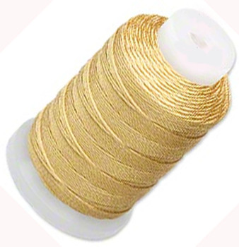 Simply Silk Beading Thread Cord Size FF Dark Gold 0.015 Inch 0.38mm Spool 115 Yards for Stringing Weaving Knotting