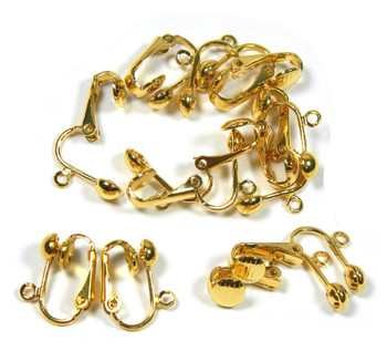 24 Gold Plated Clip On Earring Findings St Ard Ball Easy Open Loop For Easy Converting From St Ard Ear Wires 12 Pair 8053Fd