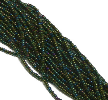Iris Green Czech 11/0 Seed Bead On Loose Strung 1 (6 String Hank) Sb1159155