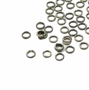 100 Jump Rings Antiqued Silver-Plated Brass 4mm Round 22 Gauge Open Rb-A4964Fn