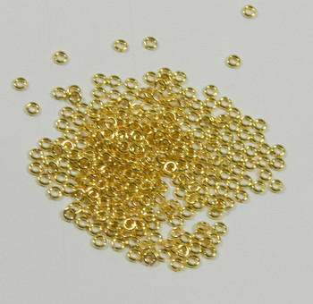 100 Jump Rings Gold-Plated Brass 3mm Round 20 Gauge 20 Gauge Open Rb-A5089Fn