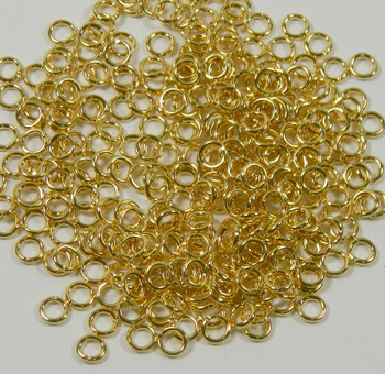 100 Jump Rings Gold-Plated Brass 5mm Round 18 Gauge Open Rb-A4908Fn