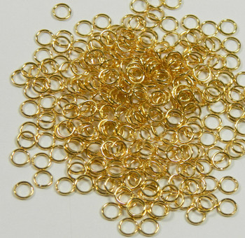 100 Jump Rings Gold-Plated Brass 5mm Round 22 Gauge Open Rb-A4970Fn