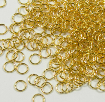 100 Jump Rings Gold-Plated Brass 6mm Round 20 Gauge Open Rb-A4933Fn