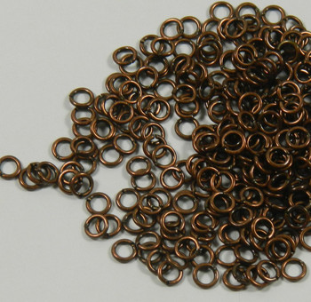 100 Jump Rings Antiqued Copper-Plated Brass 5mm Round 19 Gauge Open Rb-2930Fd