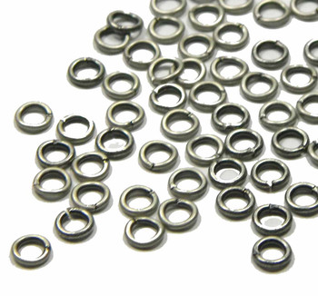 100 Jump Rings Antiqued Silver-Plated Brass 5mm Round 18 Gauge Open Rb-6135Fy