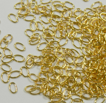 100 Jump Rings, Gold Plated Brass 6x4mm Oval, 22 Gauge Open