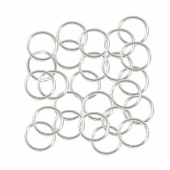 100 Jump Rings Silver Plated Brass 9mm Round 18 Gauge Open Rb-A5010Fn
