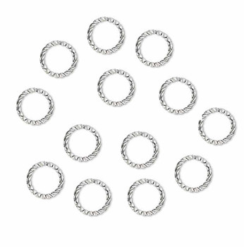 100 Jump Rings Silver-Plated Brass 10mm Twisted Round 16 Gauge Open Rb-A5020Fn