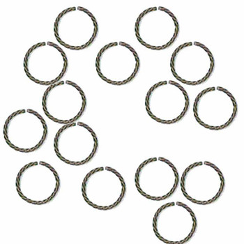 100 Jump Rings Antiqued Silver-Plated Brass 8mm Twisted Round 20 Gauge Open Rb-6129Fy