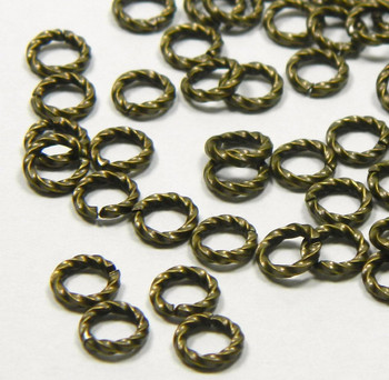 100 Jump Rings Antiqued Gold-Plated Brass 6mm Twisted Round 16 Gauge Open Rb-A5041Fn