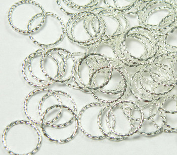 100 Jump Rings Silver-Plated Brass 10mm Twisted Round 18 Gauge Open Rb-5346Fd