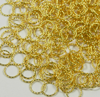 100 Jump Rings Gold-Plated Brass 10mm Twisted Round 18 Gauge Open Rb-5343Fd