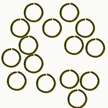 100 Jump Rings, Antiqued Gold-plated Brass, 8mm Twisted Round, 20 Gauge Open