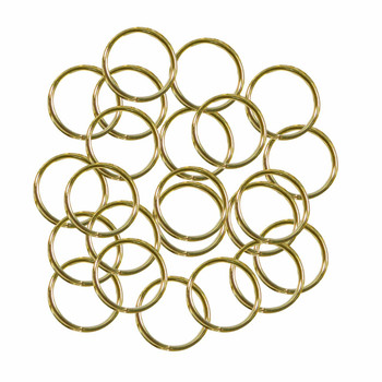 100 Jump Rings Gold-Plated Brass 12mm Round 18 Gauge Open Rb-3584Fn