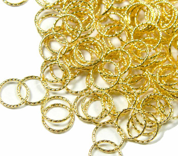 100 Jump Rings Gold-Plated Brass 8mm Twisted Round 20 Gauge Open Rb-5342Fd