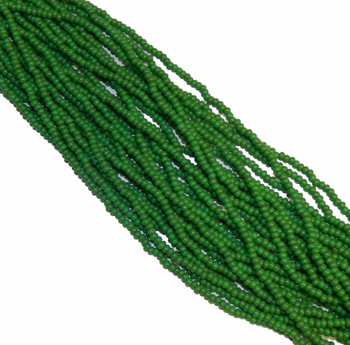 Green Opaque Czech 8/0 Glass Seed Beads 12 Strand Hank Preciosa Sb8-53250
