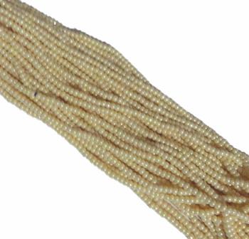 Light Cream Ceylon Pearl Czech 6/0 Seed Bead on Loose Strung 6 String Hank