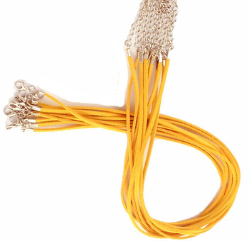 """20 Imitation Suede Leather Cord Necklaces Golden 17-19"""" Lobster Clasp Phncor-R029-09"""