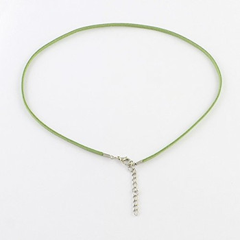 "20 Imitation Suede Leather Cord Necklaces Green 17-19"" Lobster Clasp"