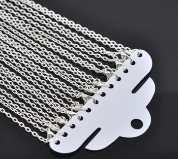 12 Pack Silver Plated Lobster Clasp Link Chain Necklaces 18 Inch Rb12658