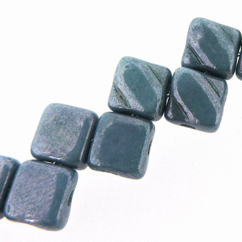 Blue Luster 6mm Diamond Glass Czech Two Hole 40Pc Tile Beads Sq206-03000-14464