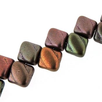 Violet Rainbow 6mm Diamond Glass Czech Two Hole 40Pc Tile Beads Sq206-00030-01640
