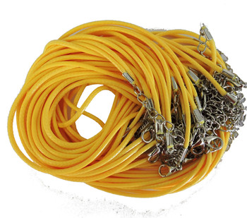 "18 Imitation Leather Cord Necklaces Yellow 18"" Lobster Claw Clasp Phncor-R027-6"