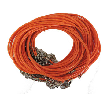 "18 Imitation Leather Cord Necklaces Orange 18"" Lobster Claw Clasp Phncor-R027-7"