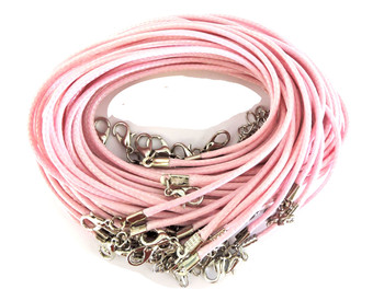 "18 Imitation Leather Cord Necklaces Light Pink 18"" Lobster Claw Clasp Phncor-R027-9"