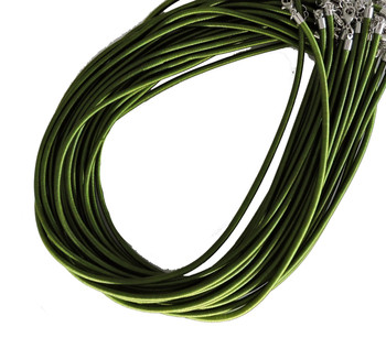 "19 4mm Satin Cord Necklaces 19"" Green Lobster Claw Clasp Phnfs005-02"
