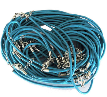 Leather Necklaces Turquoise Blue 18-1/2 Inch W/ Lobster Clasp And Extension Chain Phmak-F002-06