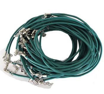 Leather Necklaces Turquoise Green 18-1/2 Inch W/ Lobster Clasp And Extension Chain Phmak-F002-04