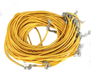 Leather Necklaces Yellow 18-1/2 Inch W/ Lobster Clasp And Extension Chain Phmak-F002-03