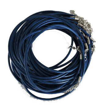 Leather Necklaces Blue 18-1/2 Inch W/ Lobster Clasp And Extension Chain Phmak-F002-05