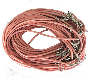 Leather Necklaces Pink 18-1/2 Inch W/ Lobster Clasp And Extension Chain Phmak-F002-02