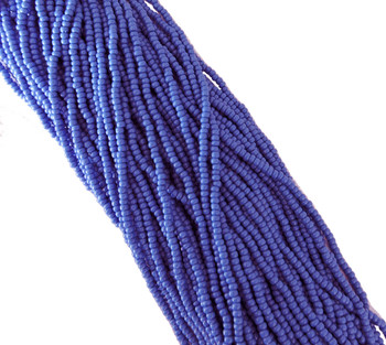 Medium Blue Opaque Czech 8/0 Glass Seed Beads 12 Strand Hank Preciosa Sb8-33040