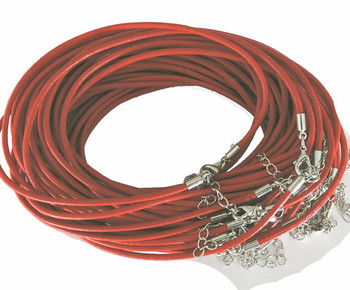 Leather Necklaces Coral Red 18-1/2 Inch W/ Lobster Clasp And Extension Chain Phmak-F002-07