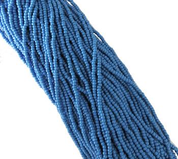 Dark Turquoise Blue Opaque Czech 8/0 Glass Seed Beads 12 Strand Hank Preciosa Sb8-63080