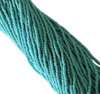 Turquoise Med Opaque Czech 8/0 Glass Seed Beads 12 Strand Hank Preciosa Sb8-63030