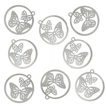 20 Thin 304 Stainless Steel Butterfly Charm Pendant 23x21mm 0.3mm Thick Rb59520