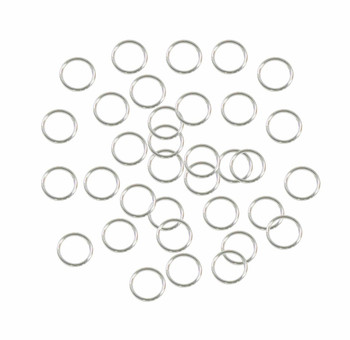 Soldered Closed 100 Jump Rings, Silver-plated, 8mm Round, 21 Gauge