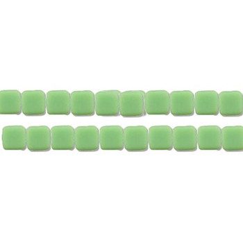 Opaque Honey Dew 6mm Square Glass Czech Two Hole 25 Tile Beads Cztwn06-53200